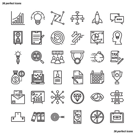 Business Element Outline Icons perfect pixel. Use for website, template,package, platform. Concept business object design.