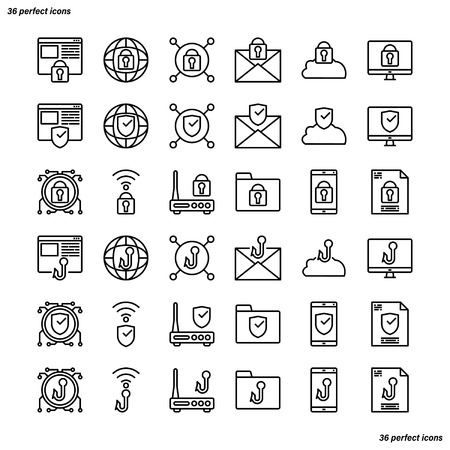 Internet Security Outline Icons perfect pixel. Use for website, template,package, platform. Concept business object design.