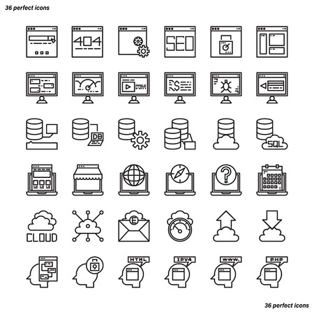 Browser and Interface Outline Icons perfect pixel. Use for website, template,package, platform. Concept business object design. Illusztráció