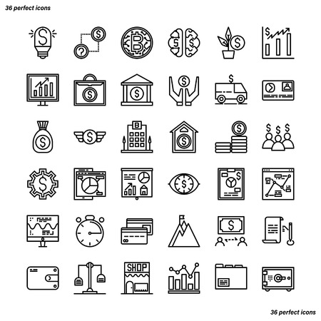Banking and Financial Outline Icons perfect pixel. Use for website, template,package, platform. Concept business object design. Illusztráció