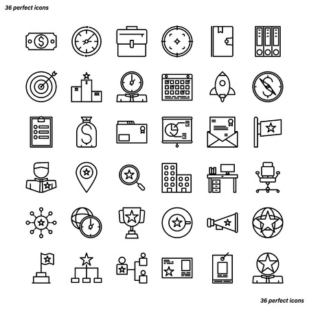 Business Management Outline Icons perfect pixel. Use for website, template,package, platform. Concept business object design. Illusztráció