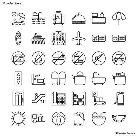 Holiday Outline Icons perfect pixel. Use for website, template,package, platform. Concept business object design.