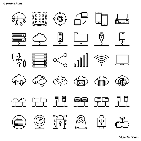 Computer Networks and Database Outline Icons perfect pixel. Use for website, template,package, platform. Concept business object design. Illusztráció