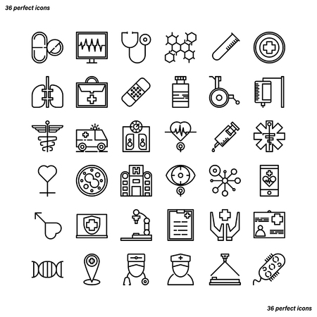 Medical and Healthcare Outline Icons perfect pixel. Use for website, template,package, platform. Concept business object design.