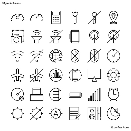 Mobile Function Outline Icons perfect pixel. Use for website, template,package, platform. Concept business object design. Stock fotó