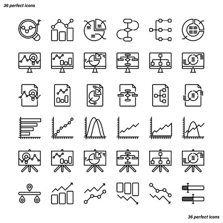 Analytics Outline Icons perfect pixel. Use for website, template,package, platform. Concept business object design.