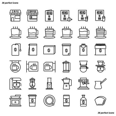 Coffee Shop Outline Icons perfect pixel. Use for website, template,package, platform. Concept business object design.