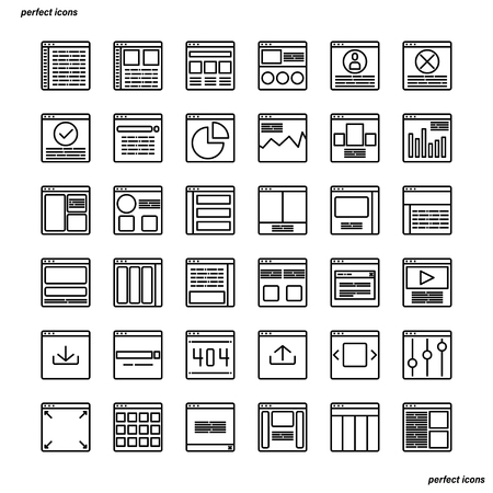 Website User Interface Outline Icons perfect pixel. Use for website, template,package, platform. Concept business object design.