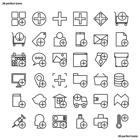 Add Outline Icons perfect pixel. Use for website, template,package, platform. Concept business object design.