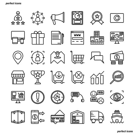 Marketing Outline Icons perfect pixel. Use for website, template,package, platform. Concept business object design.