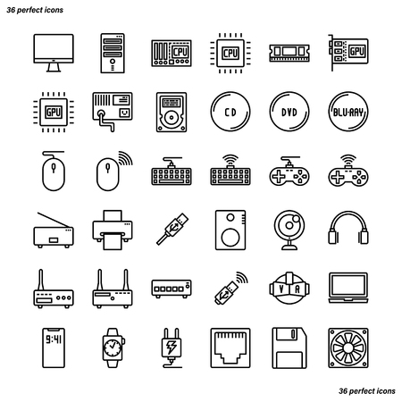 Computer Outline Icons perfect pixel. Use for website, template,package, platform. Concept business object design.