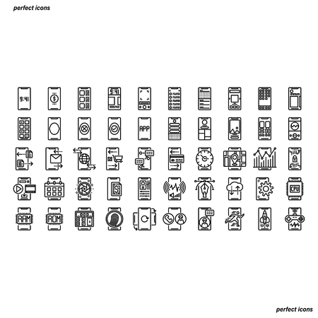 Smartphone Outline Icons perfect pixel. Use for website, template,package, platform. Concept business object design.
