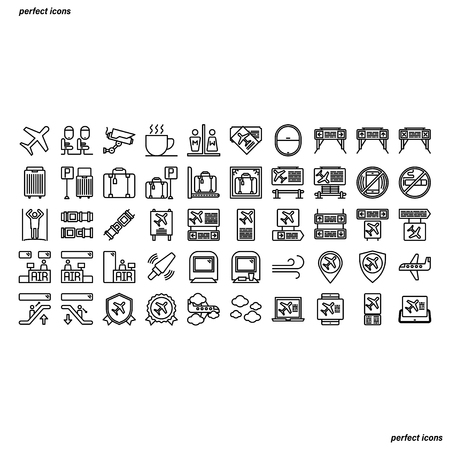 Airport Outline Icons perfect pixel. Use for website, template,package, platform. Concept business object design.