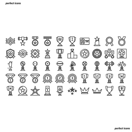 Award Outline Icons perfect pixel. Use for website, template,package, platform. Concept business object design.