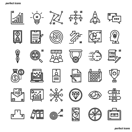 Business Outline Icons perfect pixel. Use for website, template,package, platform. Concept business object design.