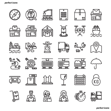Logistics Outline Icons perfect pixel. Use for website, template,package, platform. Concept business object design.