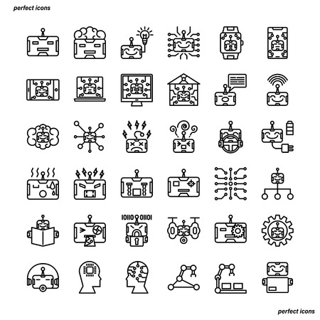 Android robot Outline Icons perfect pixel. Use for website, template,package, platform. Concept business object design.