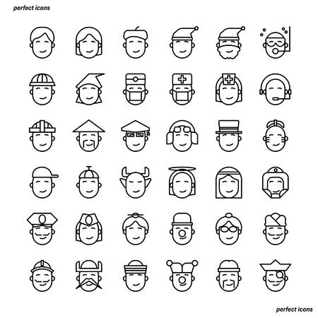 Avatar Outline Icons perfect pixel. Use for website, template,package, platform. Concept business object design.