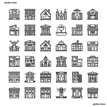 Real Estate Outline Icons perfect pixel. Use for website, template,package, platform. Concept business object design.