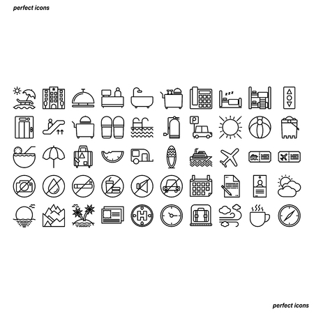 Hotel and Travel Outline Icons perfect pixel. Use for website, template,package, platform. Concept business object design.