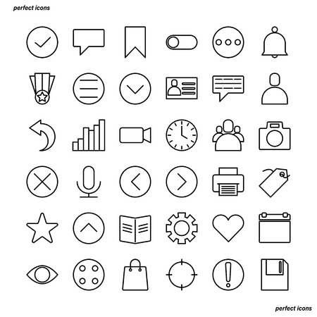 Essential Outline Icons perfect pixel. Use for website, template,package, platform. Concept business object design.