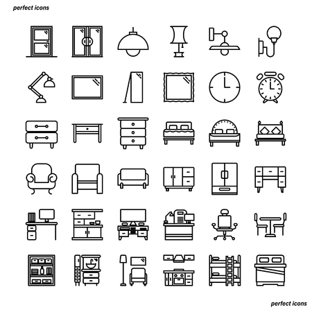 Furniture and Home Decoration Outline Icons perfect pixel. Use for website, template,package, platform. Concept business object design.