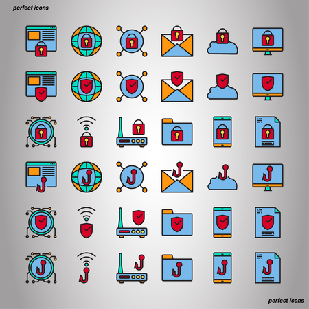 Internet Security Color Line Icons perfect pixel. Use for website, template,package, platform. Concept object UI,UX design.