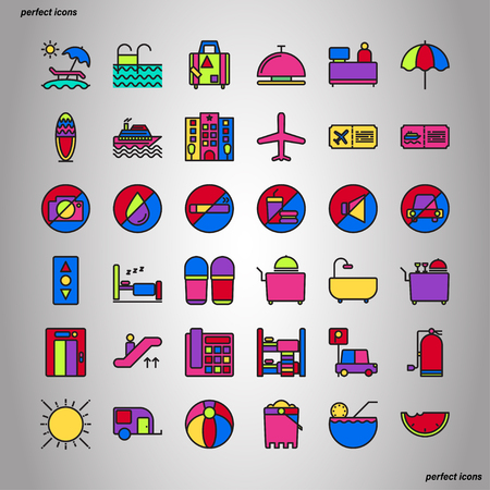 Holiday Color Line Icons perfect pixel. Use for website, template,package, platform. Concept object UI,UX design.