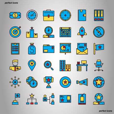 Business Management Color Line Icons perfect pixel. Use for website, template,package, platform. Concept object UI,UX design. Illusztráció