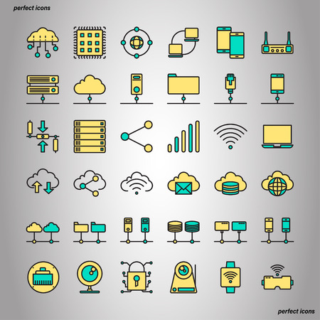 Computer Networks and Database Color Line Icons perfect pixel. Use for website, template,package, platform. Concept object UI,UX design.