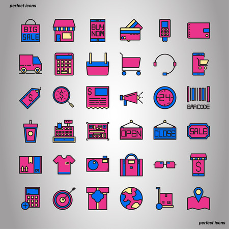 Shopping and Ecommerce Color Line Icons perfect pixel. Use for website, template,package, platform. Concept object UI,UX design.