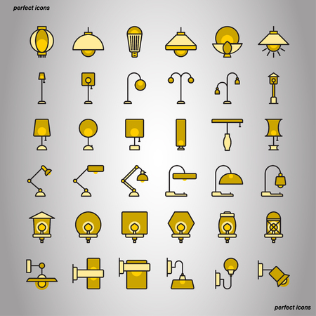 Lamp Color Line Icons perfect pixel. Use for website, template,package, platform. Concept object UI,UX design.
