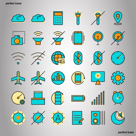 Mobile Function Color Line Icons perfect pixel. Use for website, template,package, platform. Concept object UI,UX design. Illusztráció