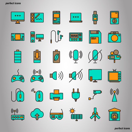 Device and Technology Color Line Icons perfect pixel. Use for website, template,package, platform. Concept object UI,UX design. Illusztráció