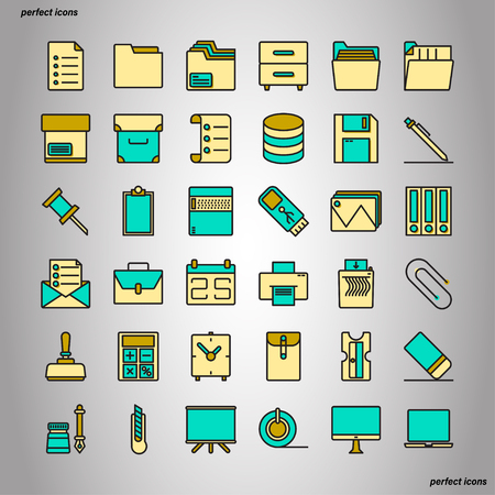 Office Supply Color Line Icons perfect pixel. Use for website, template,package, platform. Concept object UI,UX design. Illusztráció