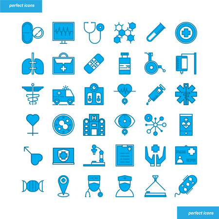Medical and Healthcare Color Line Icons perfect pixel. Use for website, template,package, platform. Concept object UI,UX design. Illusztráció
