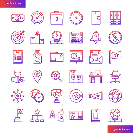 Business Element Color Line Icons perfect pixel. Use for website, template,package, platform. Concept object UI,UX design.