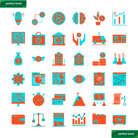 Banking and Financial Color Line Icons perfect pixel. Use for website, template,package, platform. Concept object UI,UX design. Illusztráció