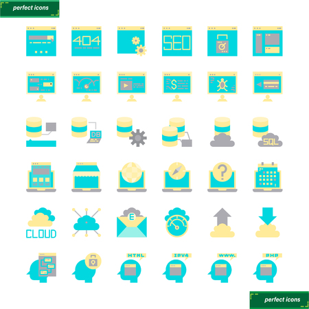 Browser and Interface  flat Icons set perfect pixel. Use for website, template,package, platform. Concept object UI,UX design.