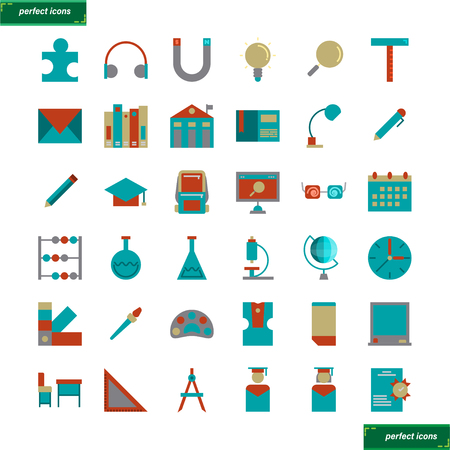 Education and learning  flat Icons set perfect pixel. Use for website, template,package, platform. Concept object UI,UX design. Illusztráció