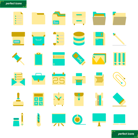 Office Supply  flat Icons set perfect pixel. Use for website, template,package, platform. Concept object UI,UX design.