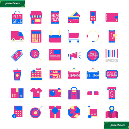 Shopping and Ecommerce  flat Icons set perfect pixel. Use for website, template,package, platform. Concept object UI,UX design.