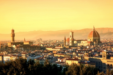 florence: Aerial view of Duomo Cathedral in Florence Italy