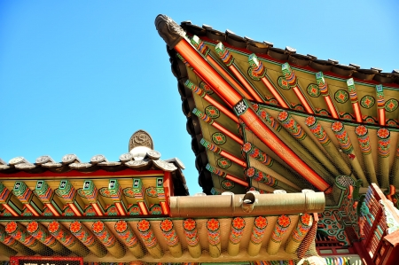 Seoul, Korean traditional architecture, sky, asian roof  photo