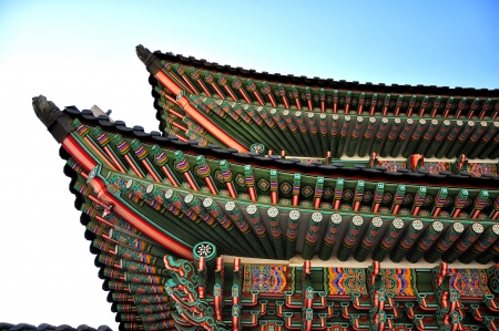 buddhist structures: Seoul, Korean traditional architecture, sky, asian roof