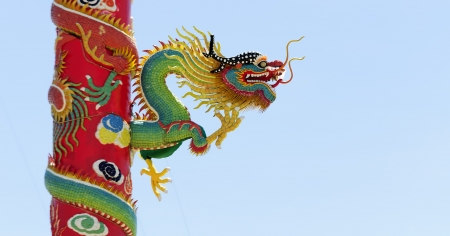 Chinese style dragon statue Chonburi Thailand photo