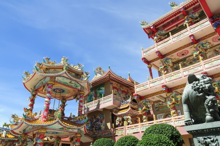 The beautiful Chinese shrine and the blue sky photo