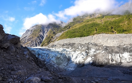 temperate: Fox Glacier in Westland National Park on the West Coast of New Zealand s South Island  Southern Alps mountains