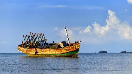 Old boat park at Koh Mak, Thailand photo