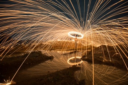 Fire spinning from steel wool Stock Photo - 21803982